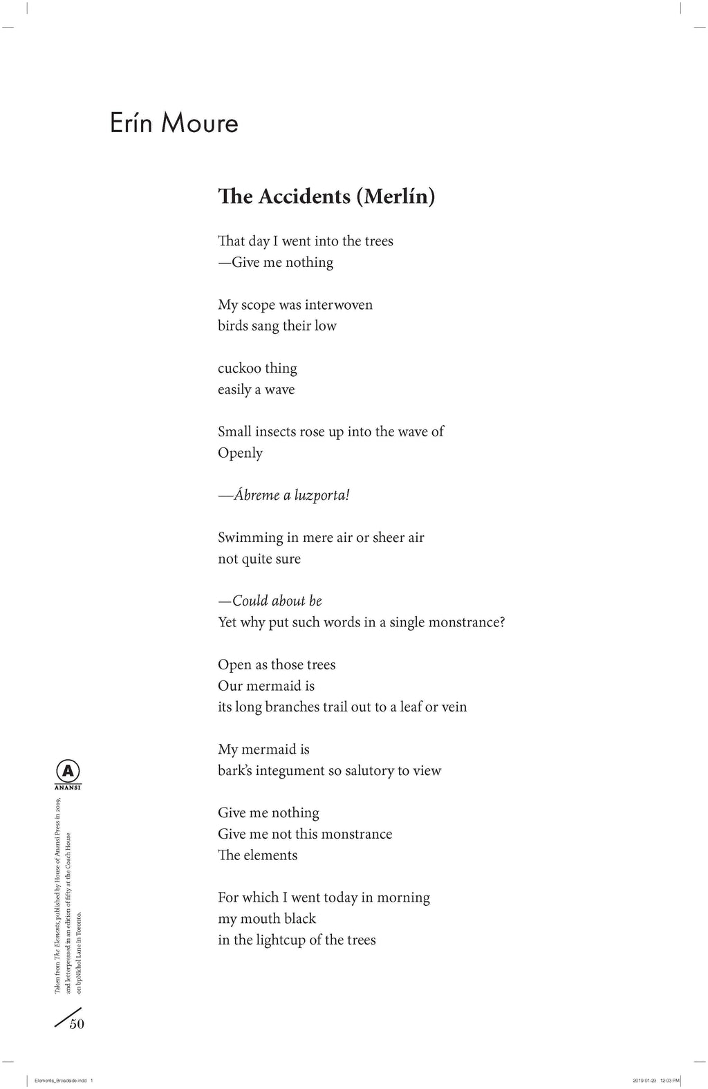 The Accidents (Merlín) by Erín Moure (from The Elements)