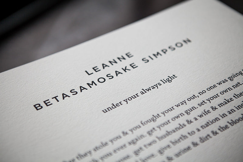 Cover of under your always light by Leanne Betasamosake Simpson