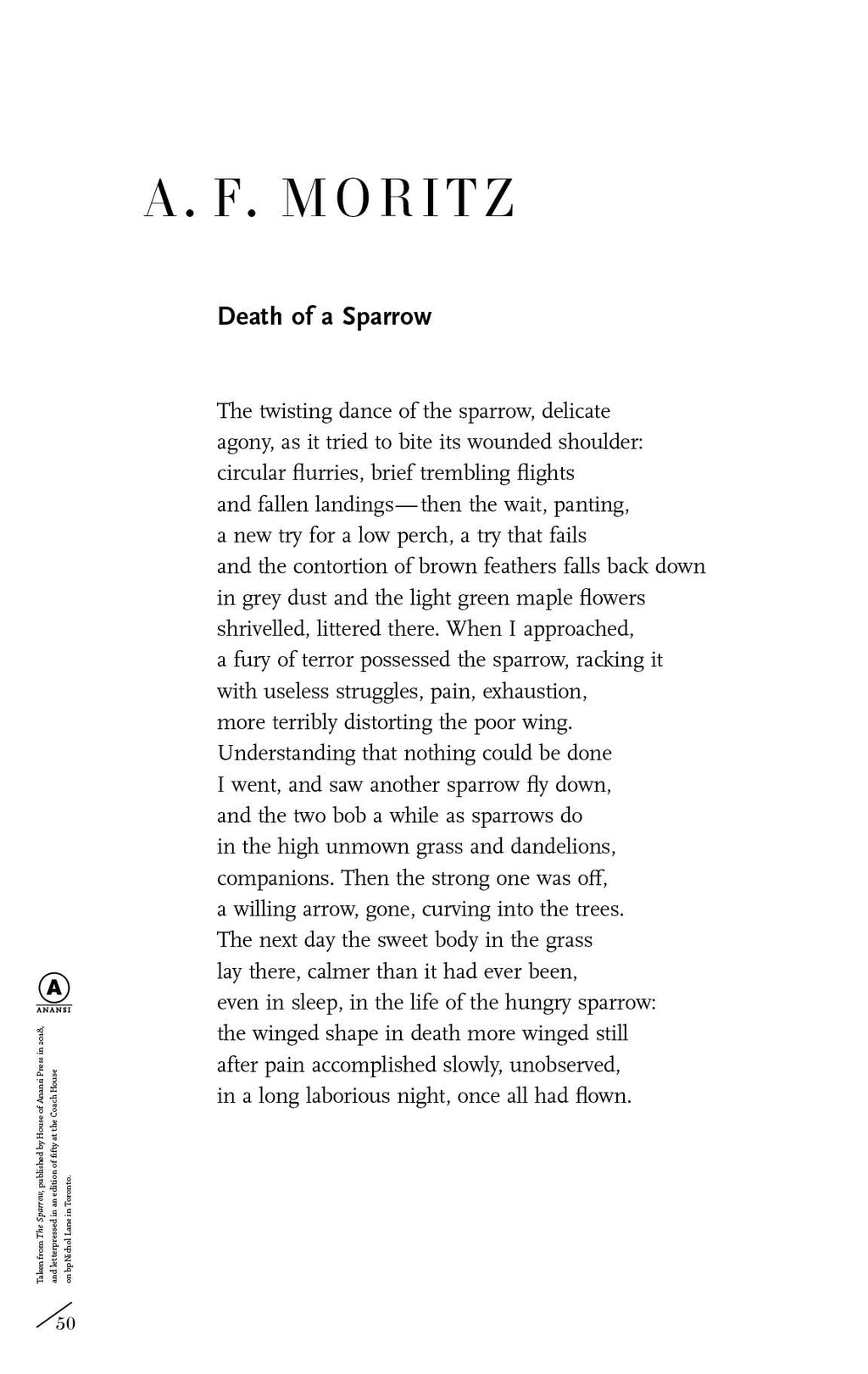Death of a Sparrow by A. F. Moritz