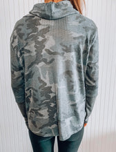 Load image into Gallery viewer, Cowl neck camo tunic