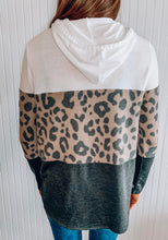 Load image into Gallery viewer, Colorblock animal print hoodie