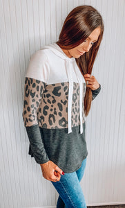 Colorblock animal print hoodie