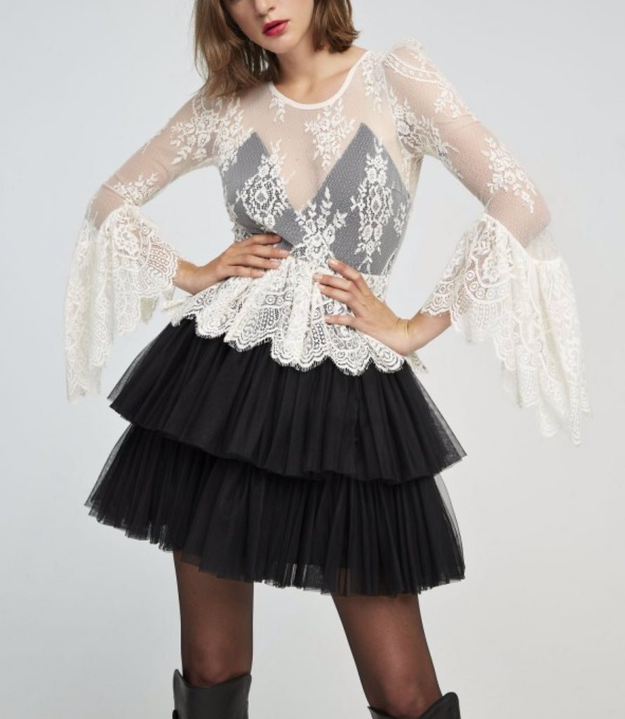 Abito Jenna con corpetto in pizzo e gonna in tulle Aniye By
