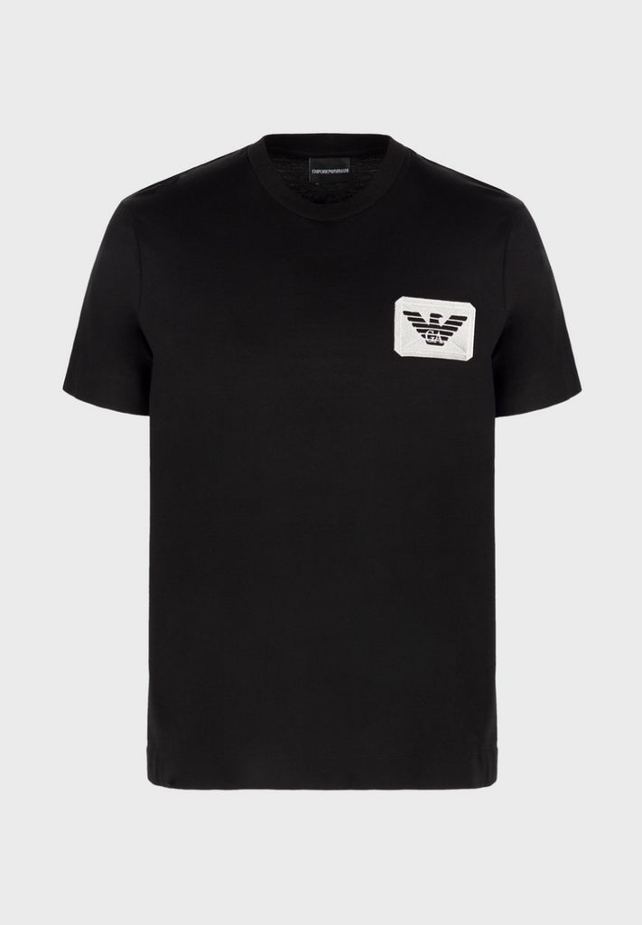 T-shirt in jersey mercerizzato con patch eagle Emporio Armani