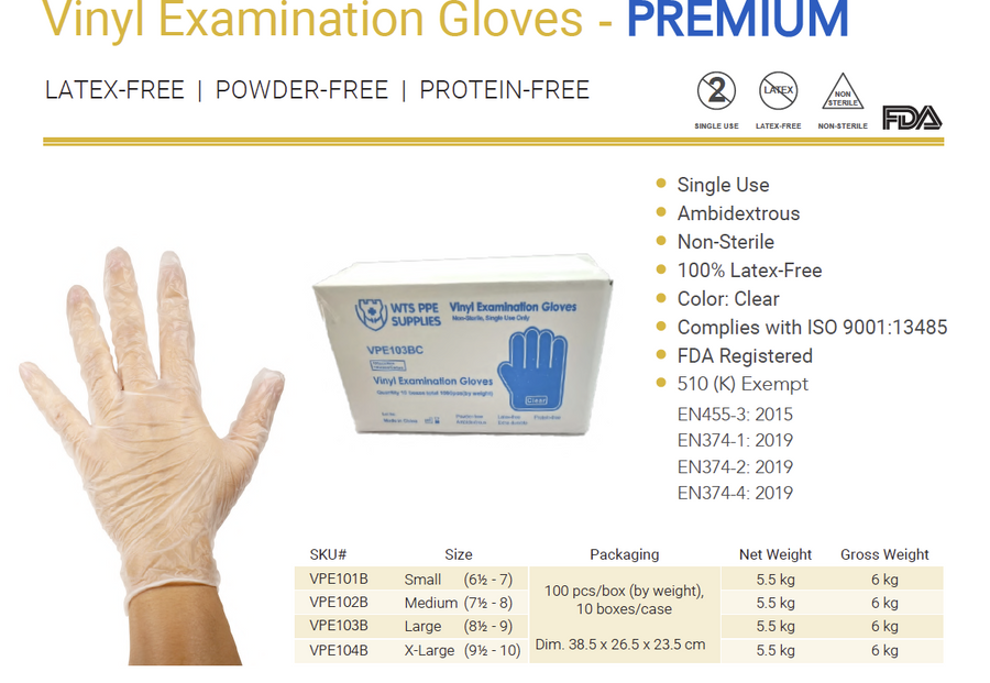 Premium Vinyl Examination Glove ( 100pcs/Box )