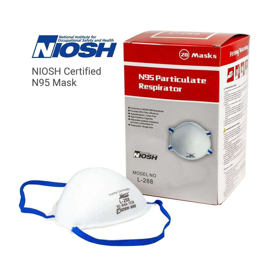 Watchtower Supplies Face Mask N95 Respirator (20 pcs) Harley L288 CDC Certified NIOSH