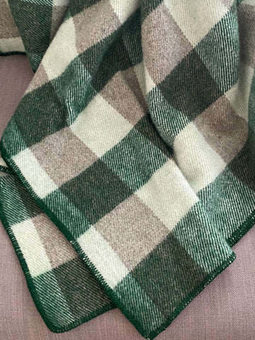 Checked Throw in Forest & Green Tweed