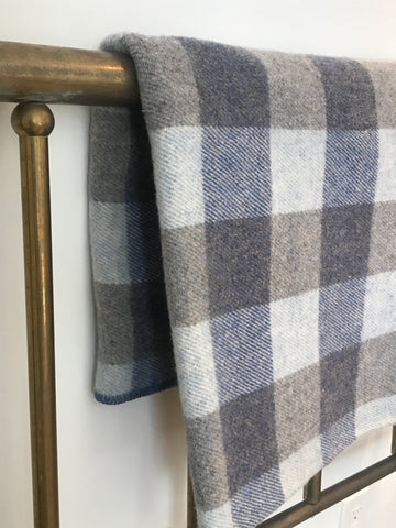 Checked Throw Blanket in Island Blues
