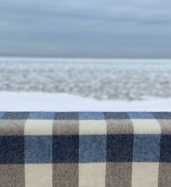 MacAusland's Checked Throw - Heather Blue