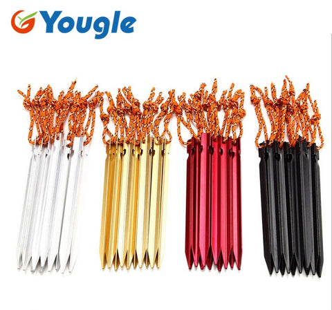 18cm Professional 10 Pcs Aluminument Tent Pegs  with Rope  Stake Camping Hiking Equipment Outdoor Traveling Tent Accessories