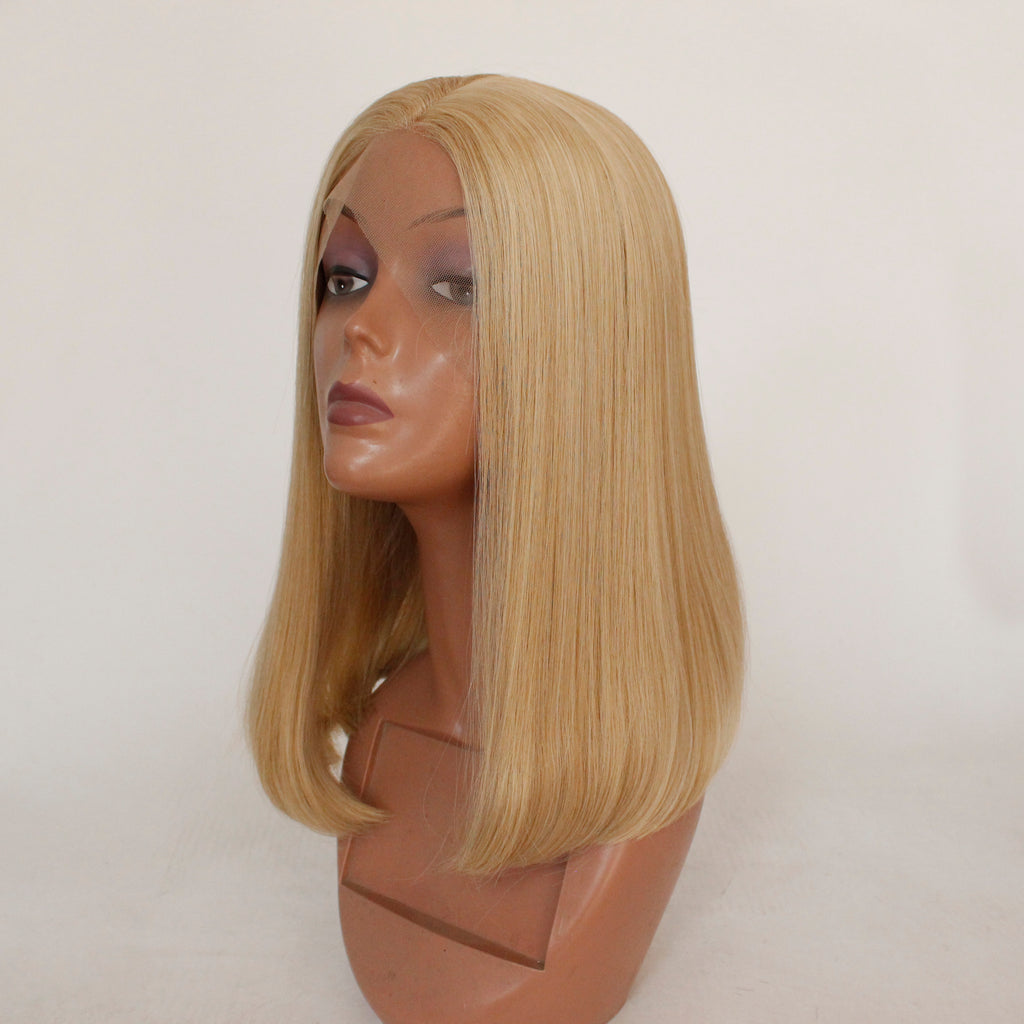 Slnwigs Blonde Wig Synthetic Short Straight Hair Middle Part Shoulder  Length Bob Wigs for Women Colorful Cosplay Hair