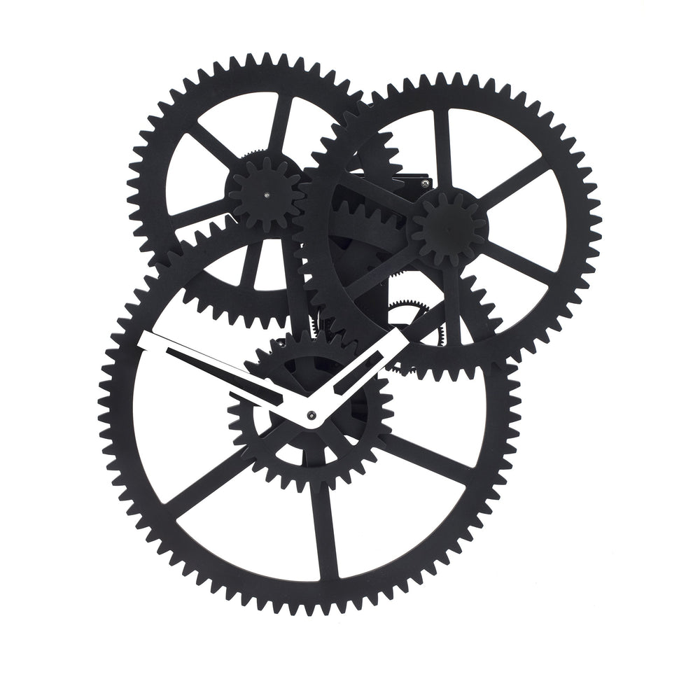 Load image into Gallery viewer, Triple Gear Wall Clock - Black clock