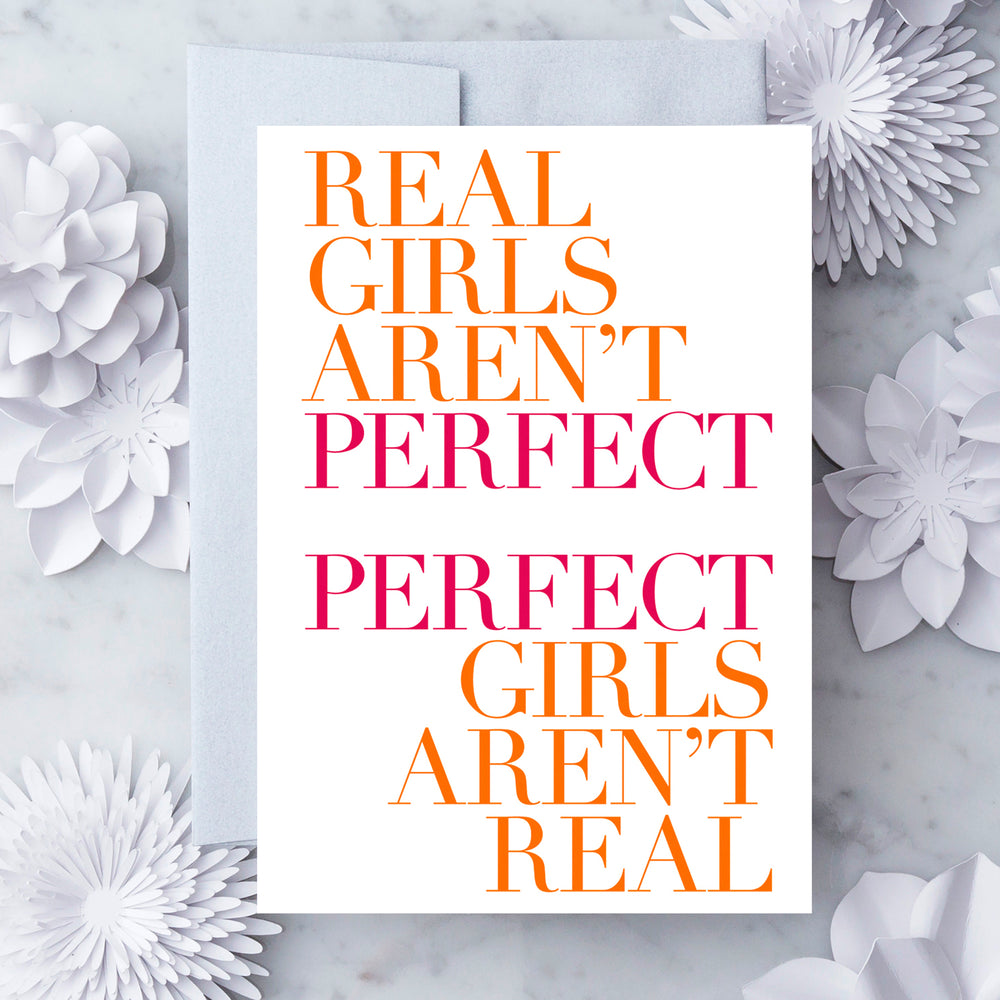 Real Girls Aren't Perfect greeting card