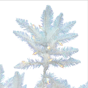 "Load image into Gallery viewer, Sparkle White Full Spruce Tree - 7.5' x 52"" Pre-lit with 750 Pure White Italian LED Lights"