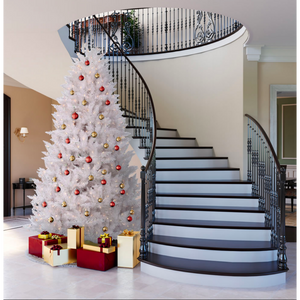"Sparkle White Full Spruce Tree - 7.5' x 52"" Pre-lit with 750 Pure White Italian LED Lights"