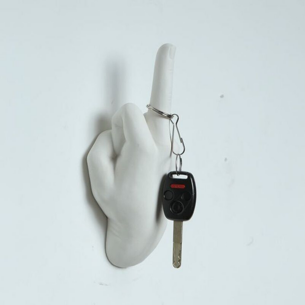 White Middle Finger Wall Mount