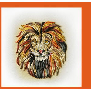 Lion Quilling Blank Card - Handmade - Just Fabulous Galleries