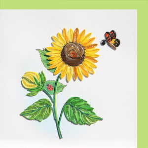 Sunflower & Butterfly Quilling Blank Card - Handmade - Just Fabulous Galleries