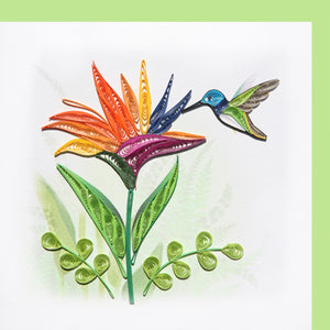 Hummingbird & Bird of Paradise Quilling Blank Card - Handmade - Just Fabulous Galleries