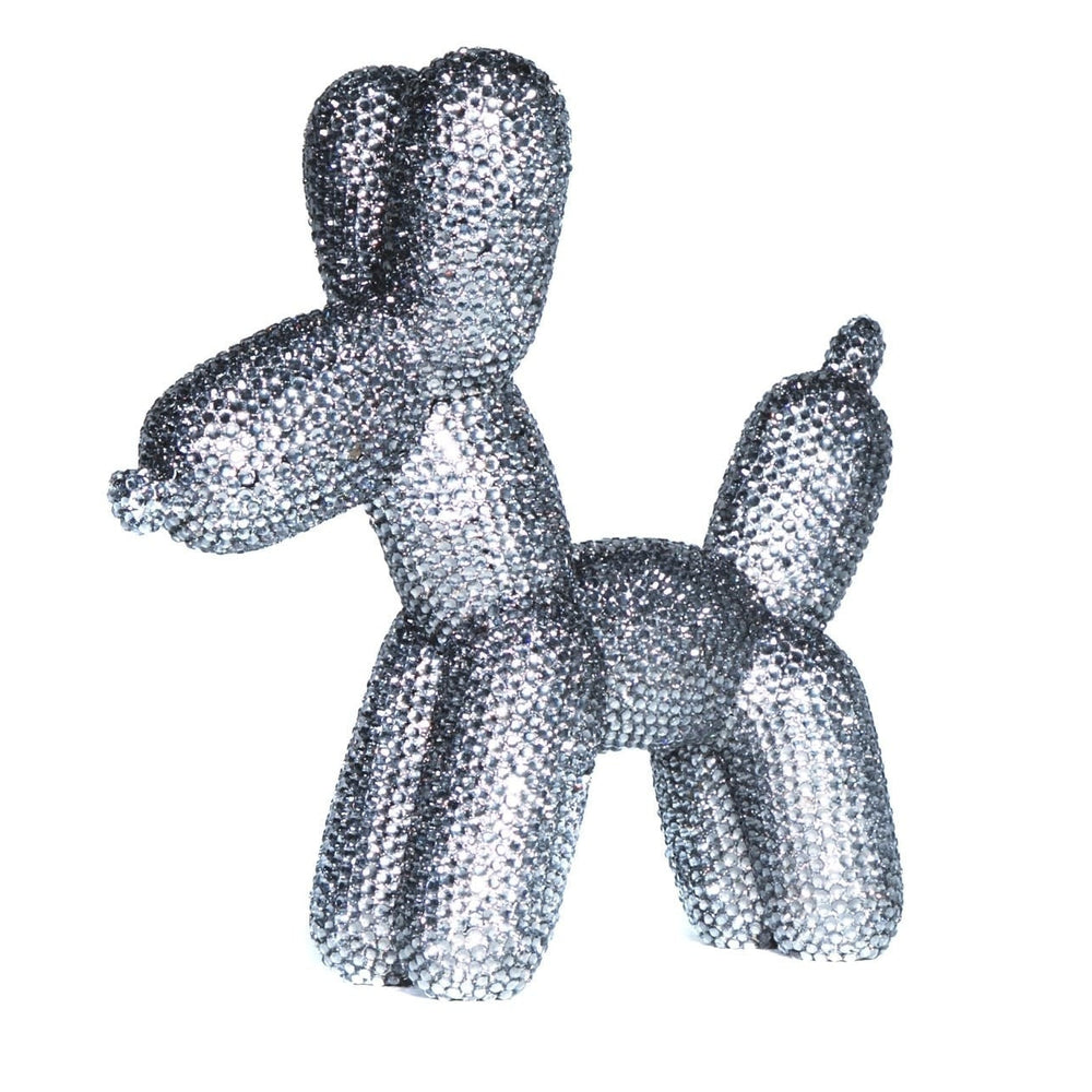 Koons Inspired Graphite Rhinestone Balloon Dog Bank ceramic