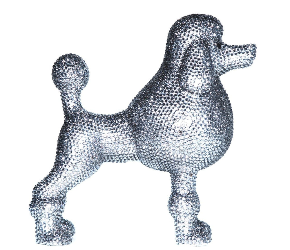 Graphite Rhinestone Poodle Bank ceramic