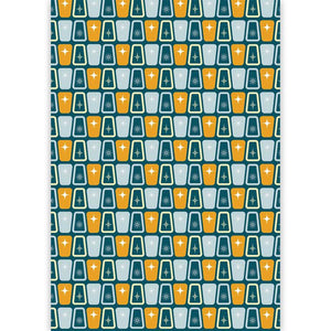 Load image into Gallery viewer, Cosmic Blues Mid Century Modern Gift Wrap