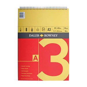 Daler Rowney Spiral Bound A3 Cartridge Paper 150gsm, 25 sheets,