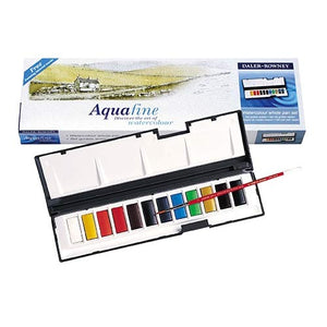 Aquafine Whole Pan Watercolour Set, 12 Pan with Brush