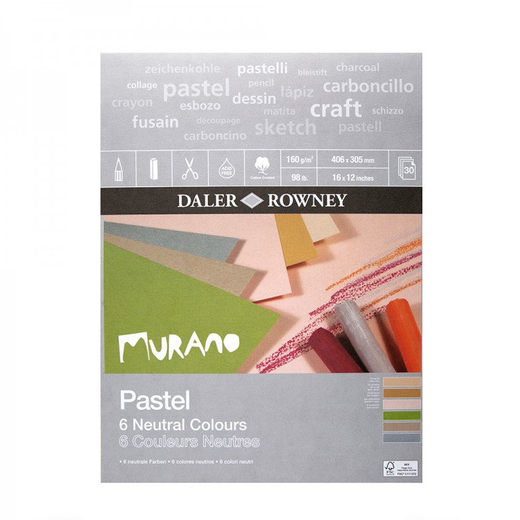 Daler Rowney Murano Pastel Paper Pad Neutral Colours 160gsm, 30 sheets, 12