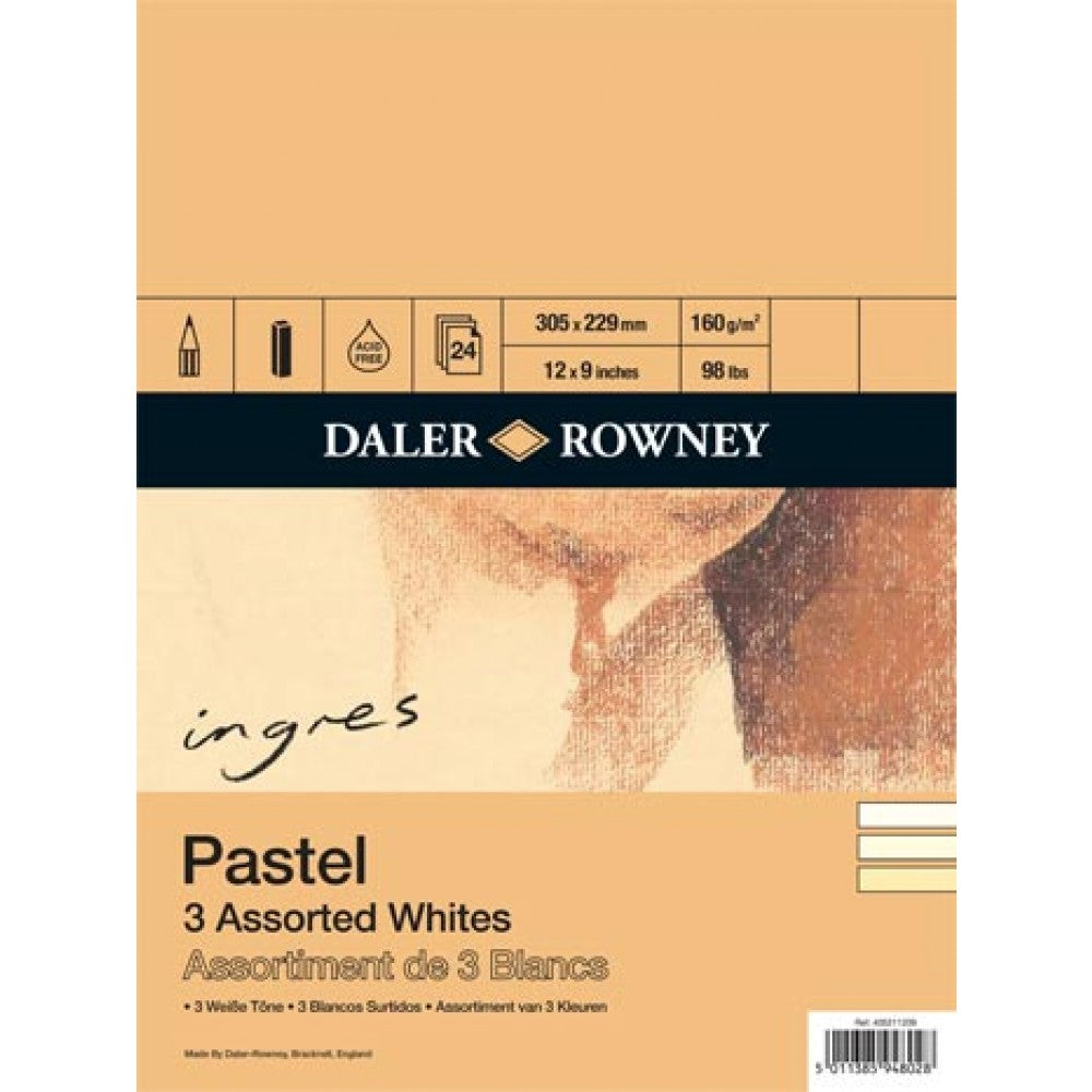 Daler Rowney Spiral Bound Ingres Pastel Paper Assorted Whites 160gsm, 24 sheets, 12