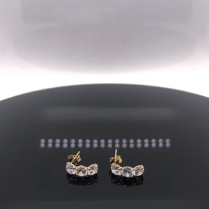9ct Gold Triple Stone Curve Earrings