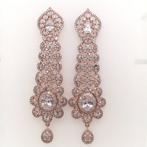 Rosegold Diamond Earrings JustNaadiyas.com