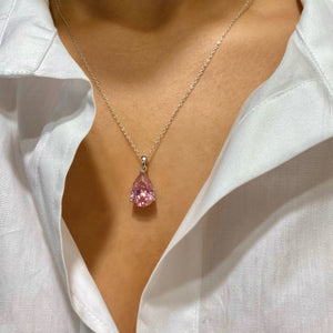 Pear Cut Crushed Ice Pink Pendant Necklace