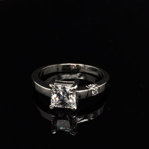 Amaia Swarovski Silver Princess Cut Ring