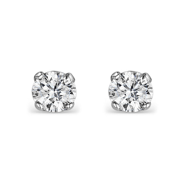 Diamond Round 0.5ct Classic Four Claw Stud Earrings