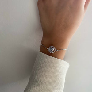 Jaipur Round Cut Halo Swarovski Adjustable Bracelet