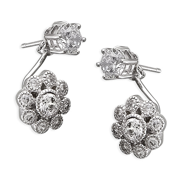 Flower Drop Silver Earrings