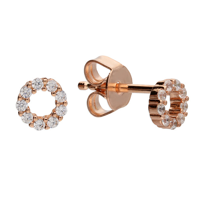 Circle Of Life Stud Earrings Silver / Rosegold