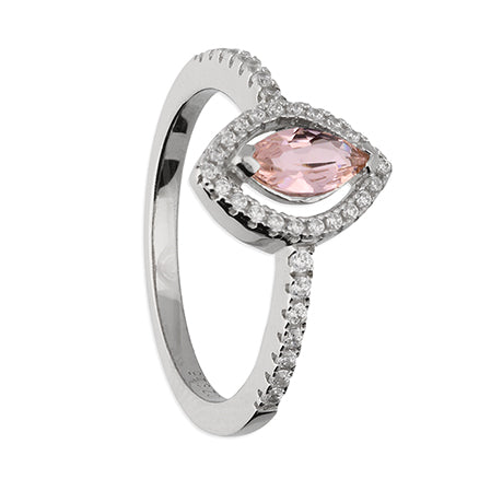 Pink Morganite Marquis Halo Ring