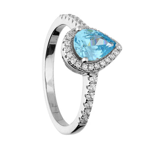 Blue Topaz Pear Cut Silver Ring