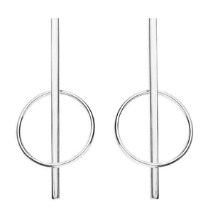 Bar Through Circle Silver Drop Earrings