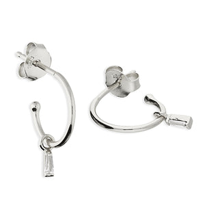 Baguette Huggie Hoop Earrings Silver / Gold