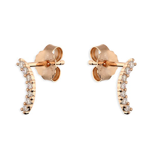 Silver / Rosegold Pavé Curve Earrings