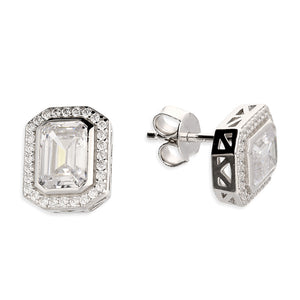 Asscher Cut Silver Halo Stud Earrings