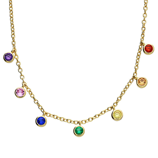 Rainbow Droplet Gold Necklace
