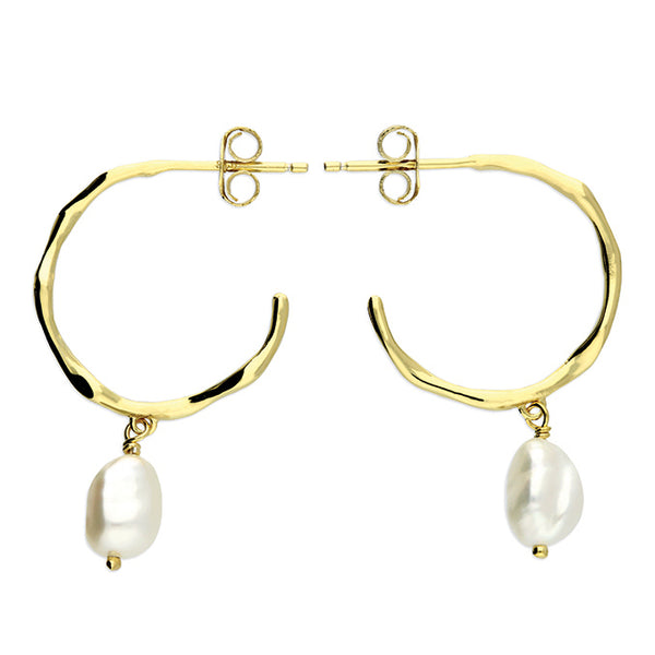 Gold / Silver Freshwater Pearl Hoop Earrings