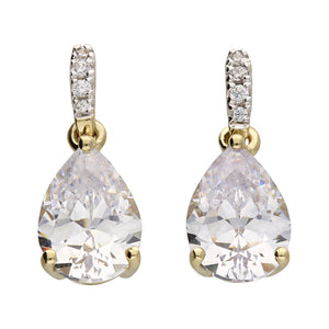 Pear Cut Yellow Gold Drop Earrings