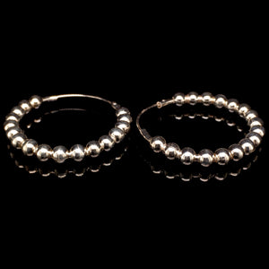 Sterling Silver Mini Beaded Hoop Earrings