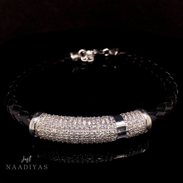 STERLING SILVER LEATHER BRACELET www.JustNaadiyas.com