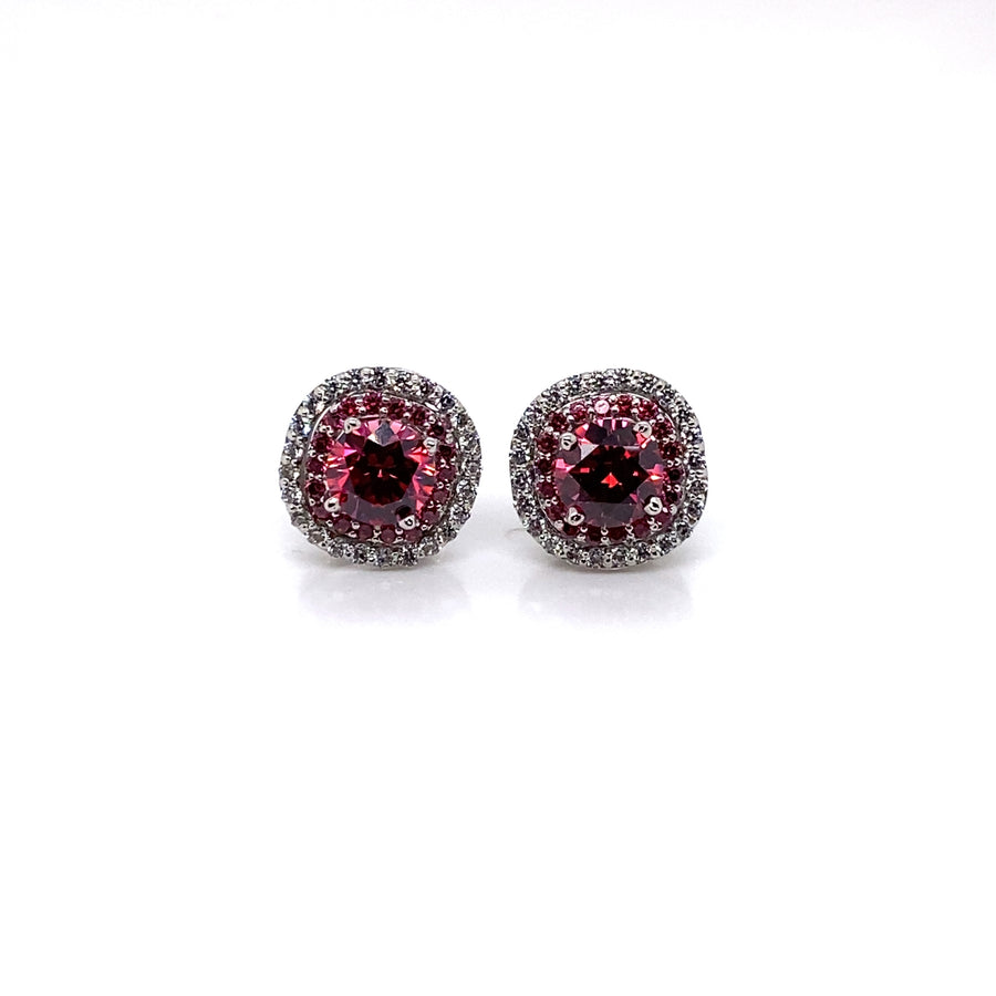Merry Pink Round Cut Halo Earrings